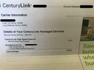 CenturyLink billing statement.